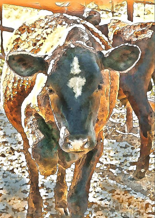 Cow Art Greeting Card featuring the photograph Cattle Round Up by Artist and Photographer Laura Wrede