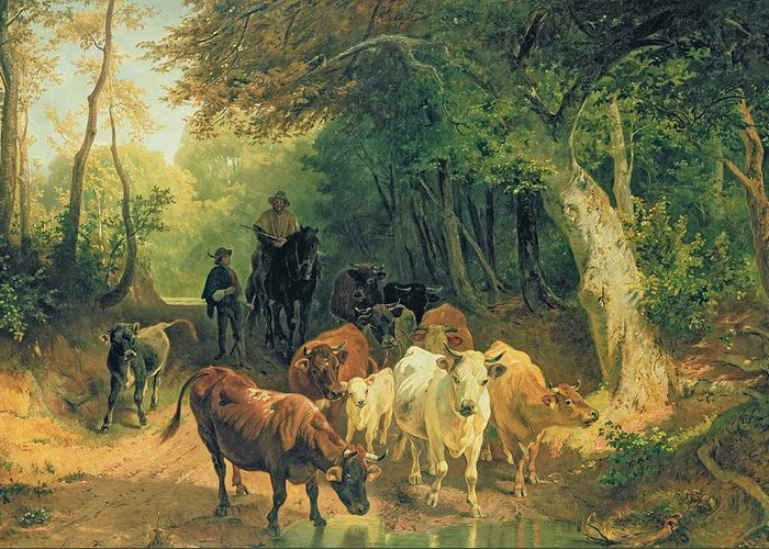 Cattle Greeting Card featuring the painting Cattle Watering In A Wooded Landscape by Friedrich Johann Voltz