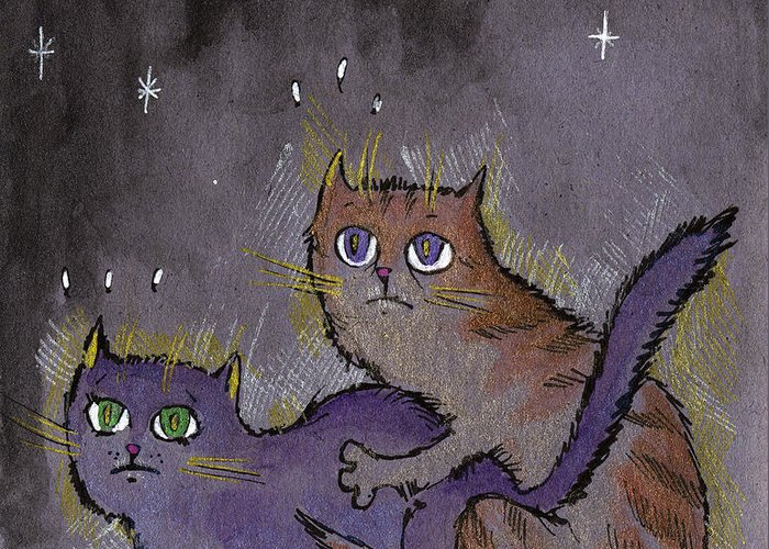 Cat Greeting Card featuring the drawing Caught In Act by Angel Tarantella