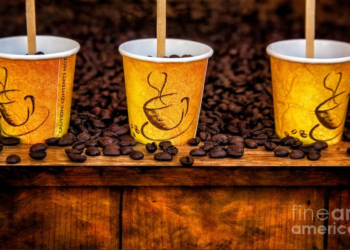Coffee Beans Greeting Card featuring the photograph Caution... Contents Hot by Susan Candelario