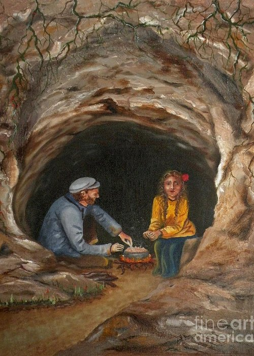 Travelers Greeting Card featuring the painting Cave Dwellers by Lora Duguay