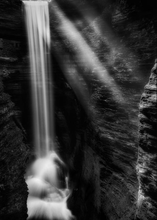 Watkins Glen Greeting Card featuring the photograph Cavern Cascade by Bill Wakeley