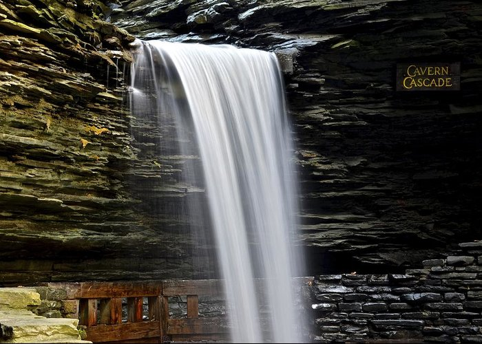 Cavern Greeting Card featuring the photograph Cavern Cascade by Frozen in Time Fine Art Photography