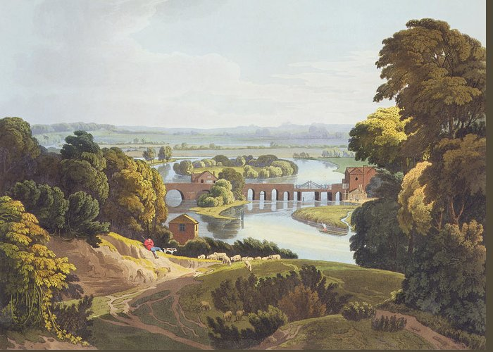 Shepherd Greeting Card featuring the drawing Caversham Bridge, Near Reading by William Havell