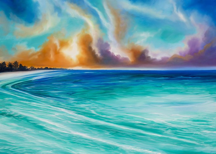 Sunrise Greeting Card featuring the painting Cazumel by James Christopher Hill
