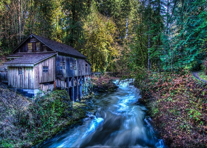 Washington State Greeting Card featuring the photograph Cedar Creek Grist Mill by Puget Exposure