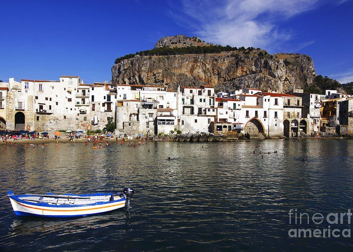 Sicily Greeting Card featuring the photograph Cefalu - Sicily by Stefano Senise