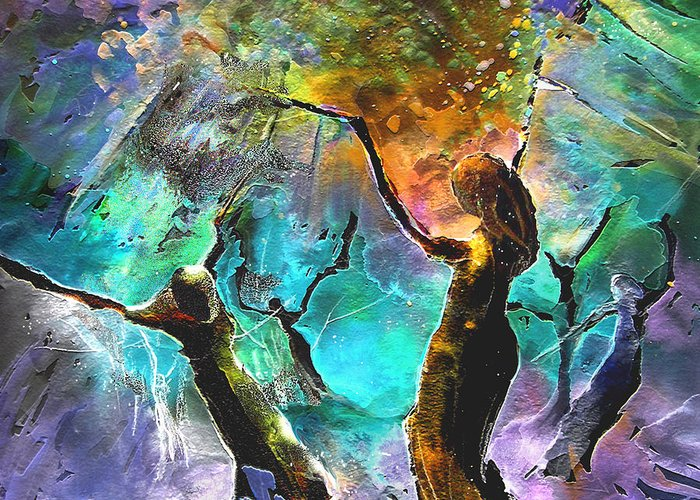 Miki Greeting Card featuring the painting Celebration Of Life by Miki De Goodaboom