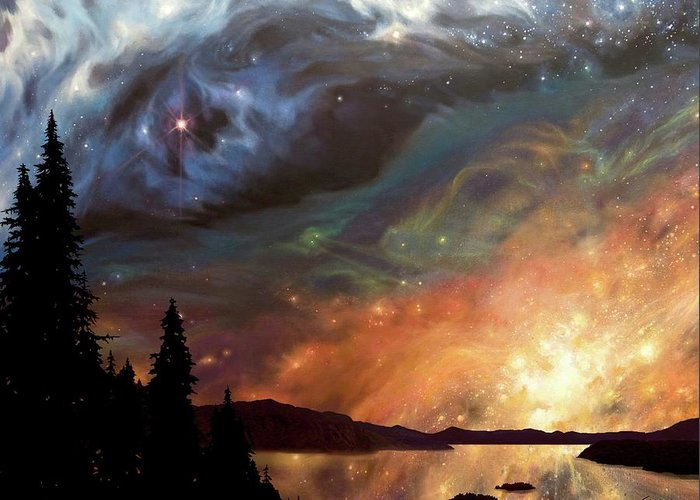 Space Art Greeting Card featuring the mixed media Celestial Northwest by Lucy West