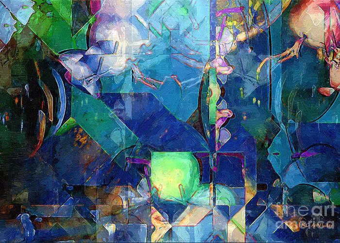 Abstract Greeting Card featuring the painting Celestial Sea by RC deWinter