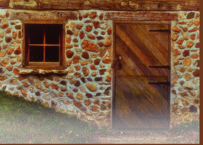Landscape Greeting Card featuring the painting Cellar Door In The Mist by Jack Zulli