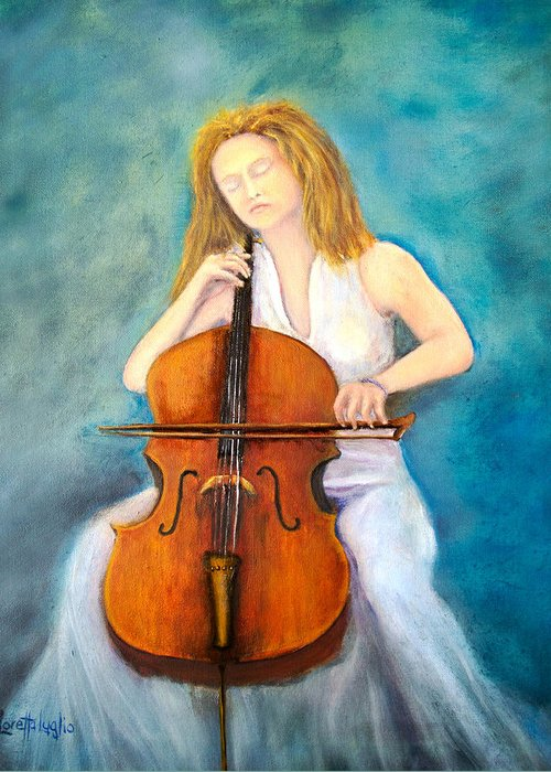 Cello Greeting Card featuring the painting Cello Player by Loretta Luglio
