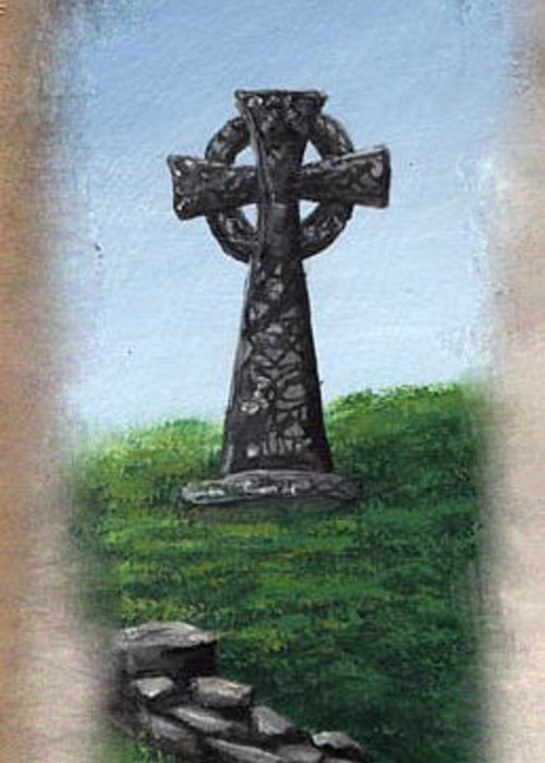Celtic Greeting Card featuring the painting Celtic Cross by Barbara McDevitt