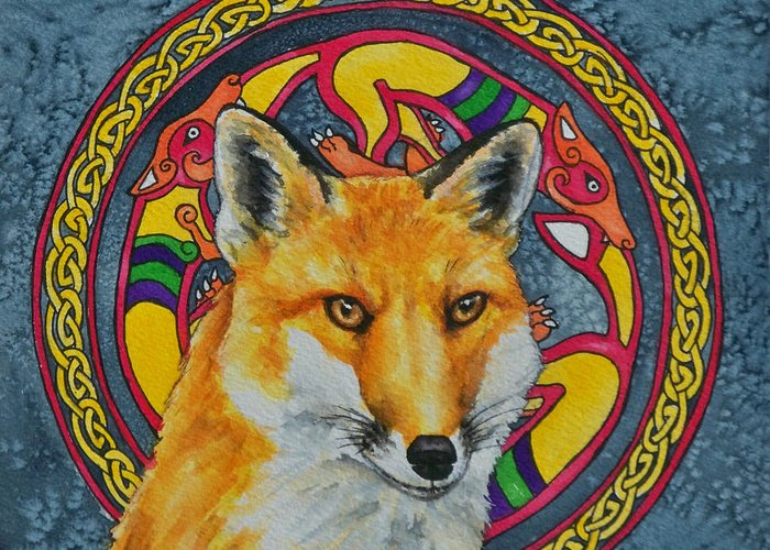 Celtic Greeting Card featuring the painting Celtic Fox by Beth Clark-McDonal