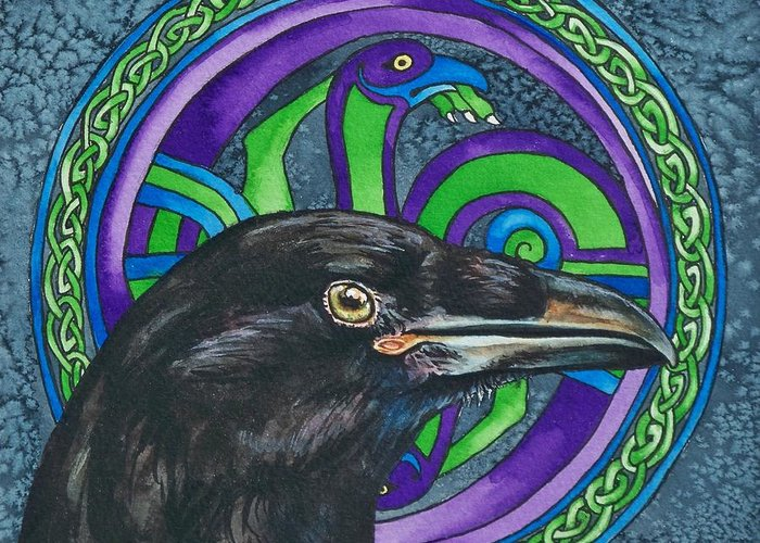 Celtic Greeting Card featuring the painting Celtic Raven by Beth Clark-McDonal