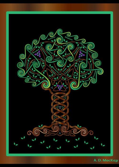 Celtic Art Greeting Card featuring the digital art Celtic Tree Of Life by Celtic Artist Angela Dawn MacKay