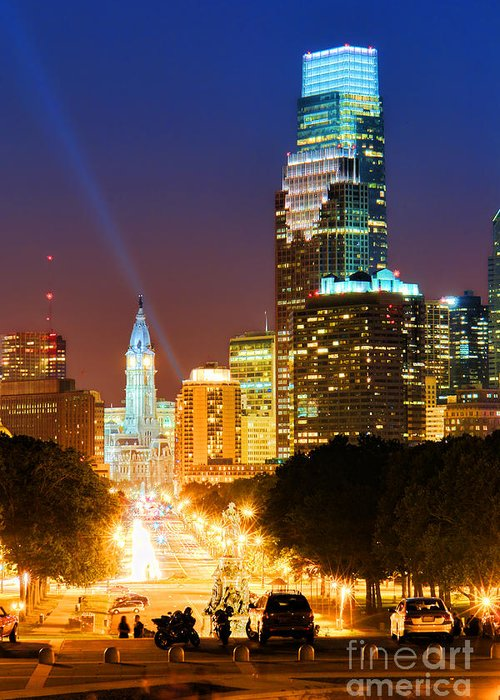 Philadelphia Greeting Card featuring the photograph Center City Philadelphia Night by Olivier Le Queinec