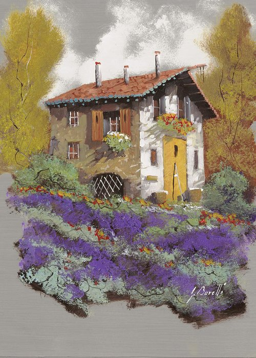 Landscape Greeting Card featuring the painting Cento Lavande by Guido Borelli