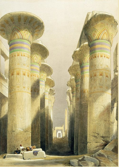 Ruins Greeting Card featuring the painting Central Avenue Of The Great Hall Of Columns by David Roberts