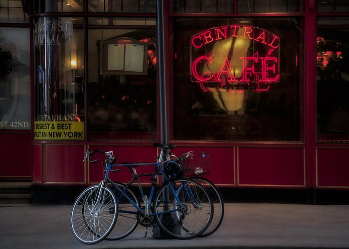 42nd Street Greeting Card featuring the photograph Central Cafe Bicycles by Susan Candelario