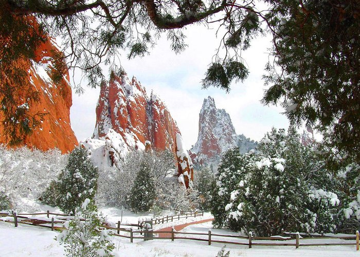 Awe Greeting Card featuring the photograph Central Garden Of The Gods After A Fresh Snowfall by John Hoffman