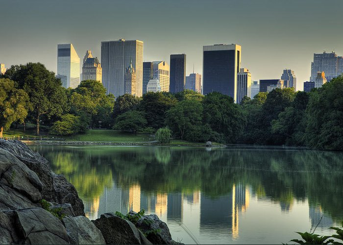 Central Park Greeting Card featuring the photograph Central Park Lake Looking South by Kenneth Ortiz