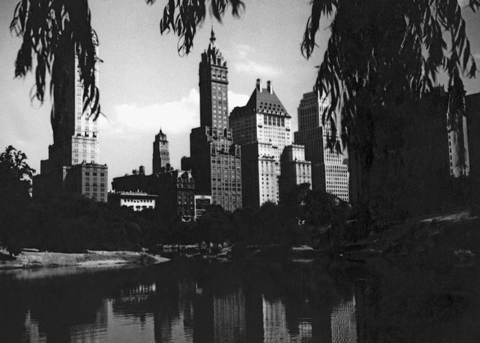 1927 Greeting Card featuring the photograph Central Park Evening View by Underwood Archives