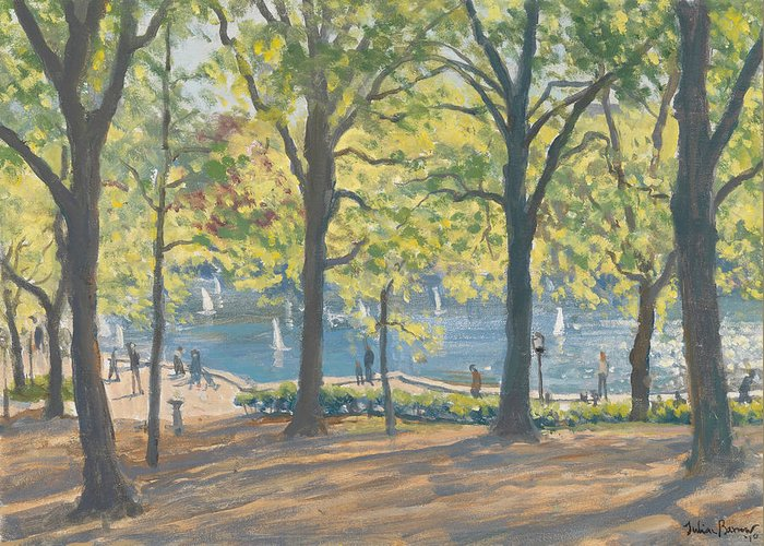 Trees; Nyc; Ny; Manhattan; Pond; America Greeting Card featuring the painting Central Park New York by Julian Barrow
