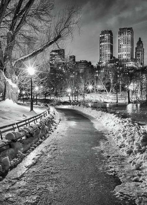Snow Greeting Card featuring the photograph Central Park Path Night Black & White by Michael Lee