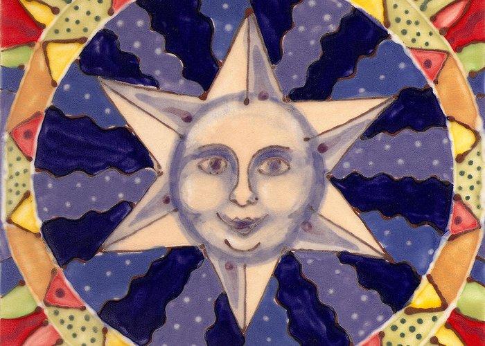 Star Greeting Card featuring the painting Ceramic Star by Anna Skaradzinska