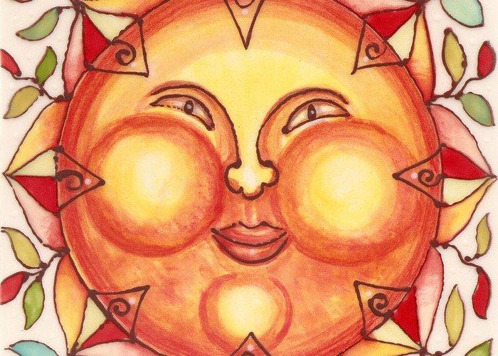 Sun Greeting Card featuring the painting Ceramic Sun 2 by Anna Skaradzinska