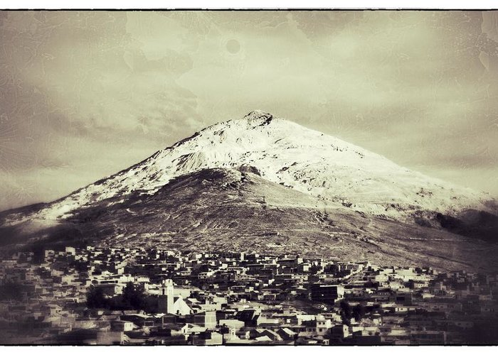 Vintage Greeting Card featuring the photograph Cerro Rico Potosi Black And White Vintage by For Ninety One Days
