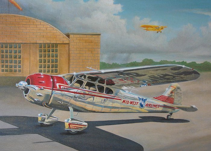 Aviation Greeting Card featuring the painting Cessna 195 by Stuart Swartz