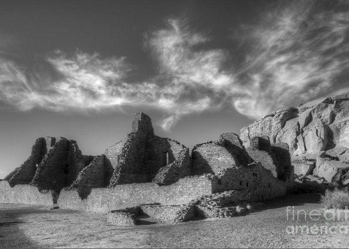 Chaco Canyon Greeting Card featuring the photograph Chaco Canyon Pueblo Bonito by Bob Christopher