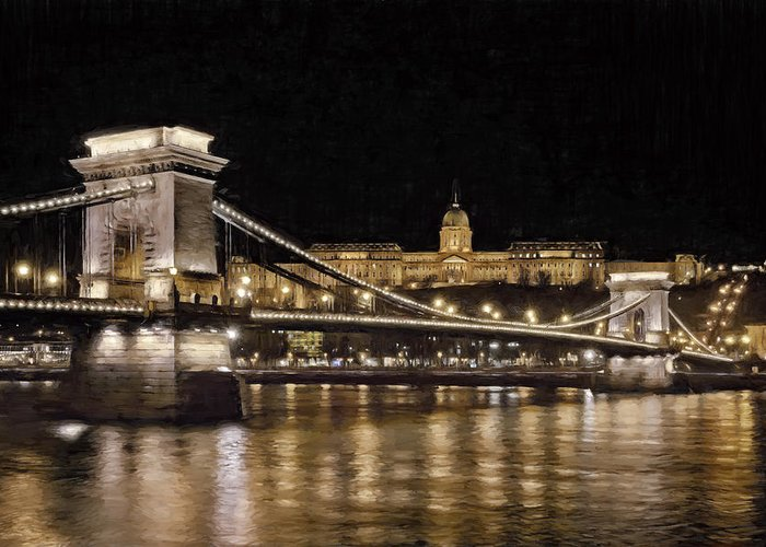 Joan Carroll Greeting Card featuring the photograph Chain Bridge And Buda Castle Winter Night Painterly by Joan Carroll
