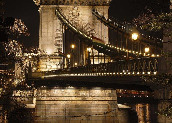 Chain Greeting Card featuring the photograph Chain Bridge Close-up by David Waldo
