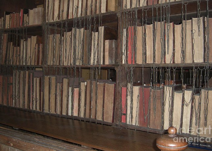 Hereford Greeting Card featuring the photograph Chained Library At Hereford Cathedral by Deborah Smolinske