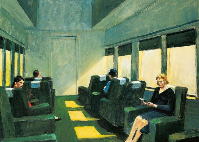 Edward Hopper Greeting Card featuring the painting Chair Car by Edward Hopper