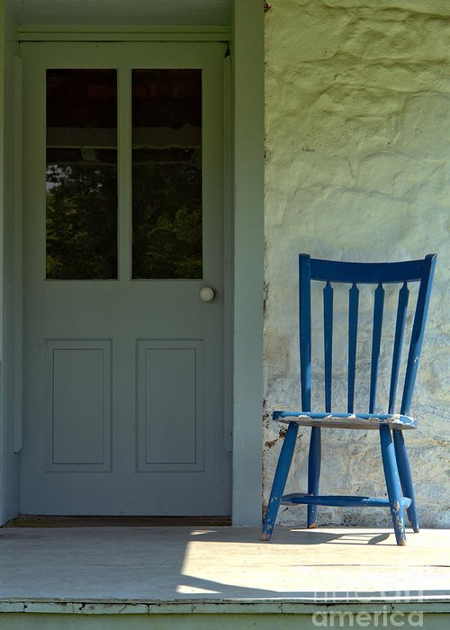 Front Greeting Card featuring the photograph Chair On Farmhouse Porch by Olivier Le Queinec