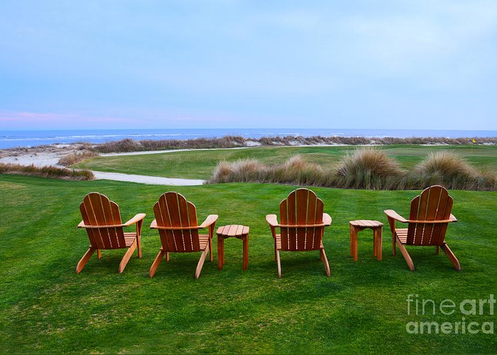 Golf Course Greeting Card featuring the photograph Chairs At The Eighteenth Hole by Catherine Sherman