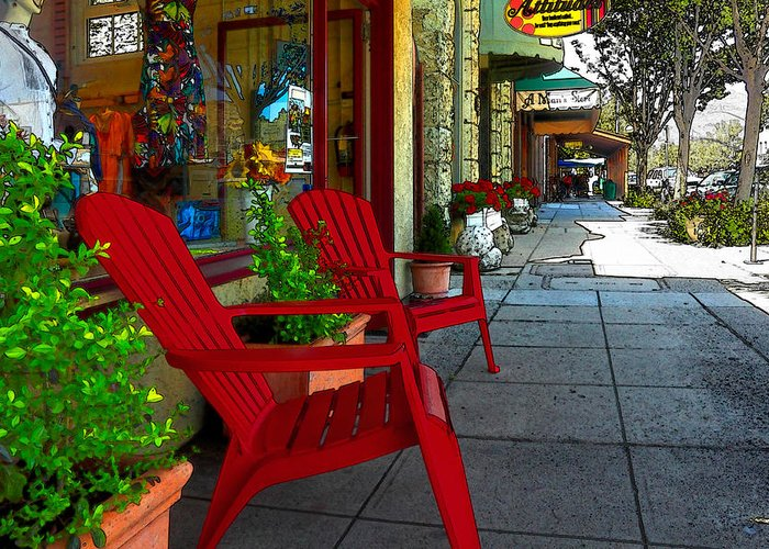 Chairs Greeting Card featuring the photograph Chairs On A Sidewalk by James Eddy