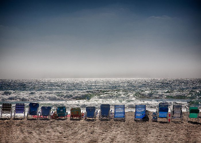 Beach Greeting Card featuring the photograph Chairs Watching The Sunset by Peter Tellone