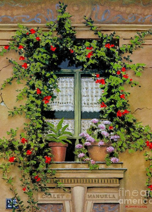 French Window Greeting Card featuring the painting Chalet Manuela by Michael Swanson