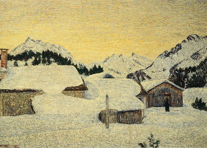 Painting; 19th Century Painting; Seasons; Europe; Italy; Switzerland; Segantini Giovanni; Snow; Winter; Post-impressionism Greeting Card featuring the painting Chalets In Snow by Giovanni Segantini