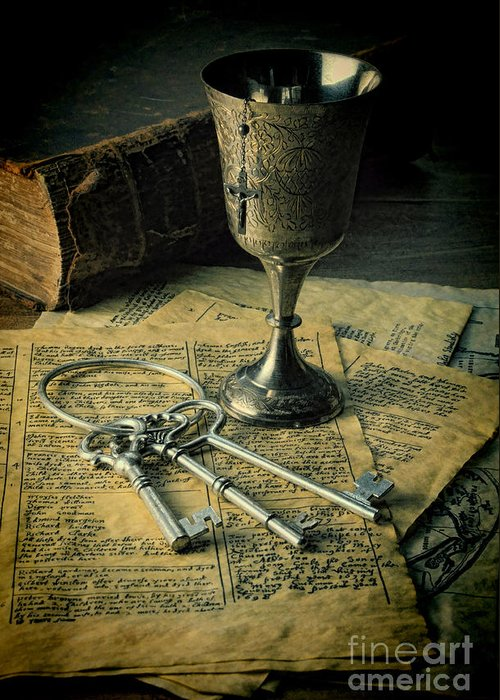 Keys Greeting Card featuring the photograph Chalice And Keys by Jill Battaglia