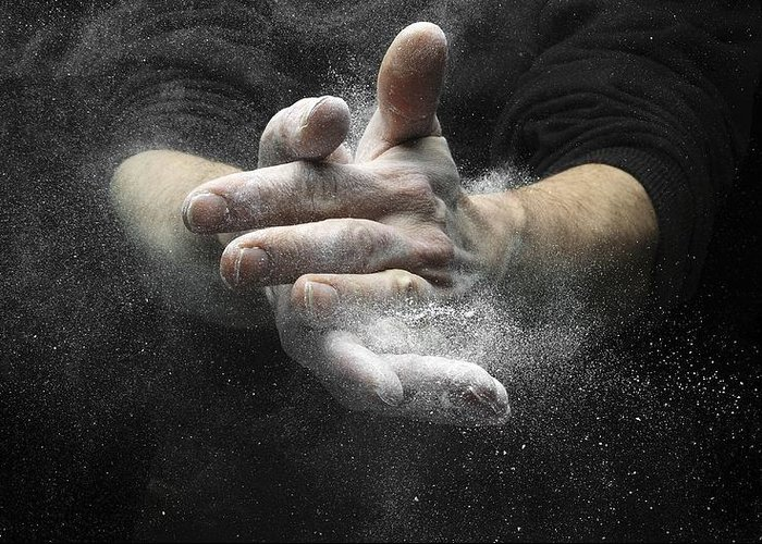 Magnesium Carbonate Greeting Card featuring the photograph Chalked Hands, High-speed Photograph by Science Photo Library