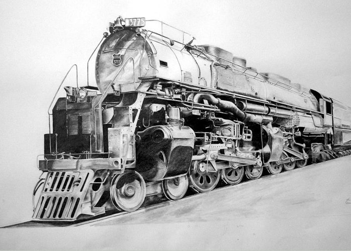 Steam Locomotive Greeting Card featuring the drawing Challenger by Glen Frear