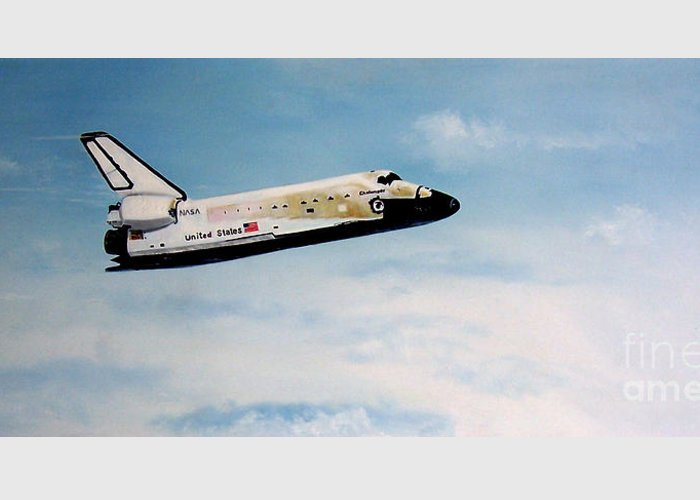 Shuttle Greeting Card featuring the painting Challenger by Murphy Elliott