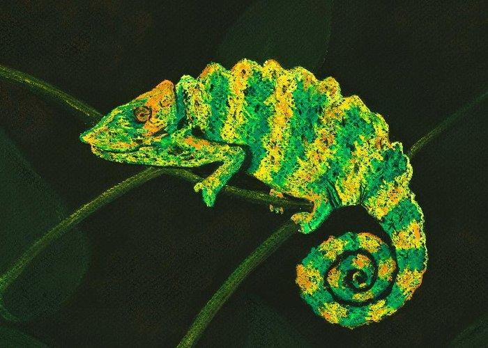Fantasy Greeting Card featuring the pastel Chameleon by Anastasiya Malakhova