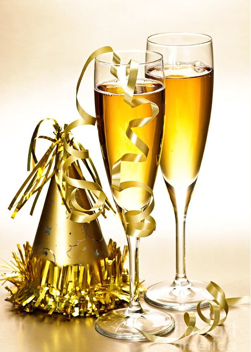 Champagne Greeting Card featuring the photograph Champagne And New Years Party Decorations by Elena Elisseeva